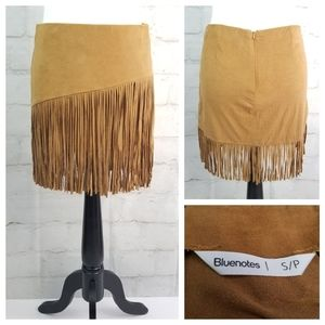 Bluenotes S Tan Microsuede Fringed Mini Skirt